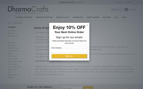 Screenshot of Terms Page dharmacrafts.com - DharmaCrafts: Terms of Use - captured Nov. 6, 2018