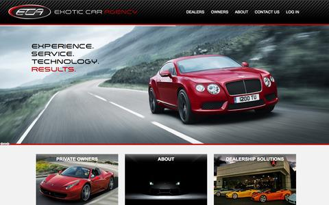 Screenshot of Home Page exoticcaragency.com - Sell My Car, Ferrari, Bentley, Lamborghini and Supercars for Sale - captured Sept. 30, 2014