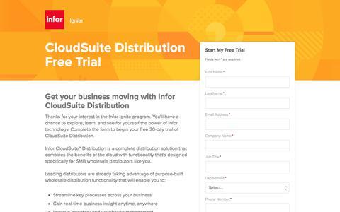 Screenshot of Landing Page infor.com - CloudSuite Distribution Free Trial - captured April 14, 2018