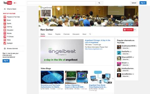 Screenshot of YouTube Page youtube.com - Ron Gerber  - YouTube - captured Oct. 23, 2014