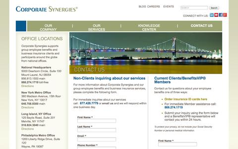 Screenshot of Contact Page Maps & Directions Page corpsyn.com - National Employee Benefits Consultants | Contact Corporate Synergies - captured Oct. 22, 2014