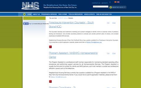 Screenshot of Jobs Page nhsnyc.org - Careers - captured Nov. 29, 2016