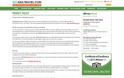 Screenshot of Privacy Page goasiatravel.com - Privacy policy. Vietnam & Indochina tours - captured July 10, 2016