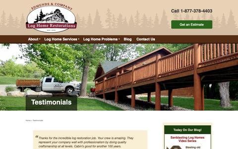Screenshot of Testimonials Page restorelogs.com - Log Home Restoration Testimonials l Edmunds and Company - captured Sept. 27, 2018