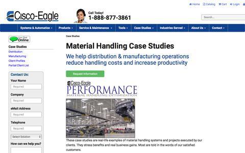 Screenshot of Case Studies Page cisco-eagle.com - Case Studies | Material Handling | Conveyor System Projects | Cisco-Eagle - captured July 21, 2017