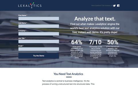 Screenshot of Landing Page lexalytics.com captured March 14, 2016