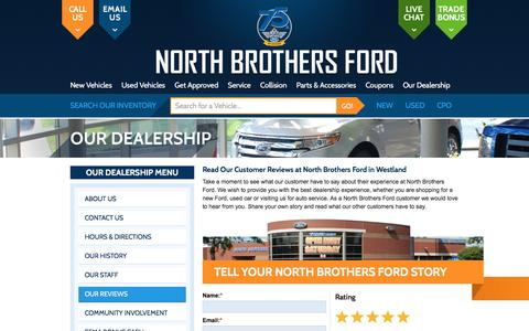 Screenshot of Testimonials Page northbros.com - Our Reviews at North Brothers Ford in Westland - captured Nov. 30, 2016
