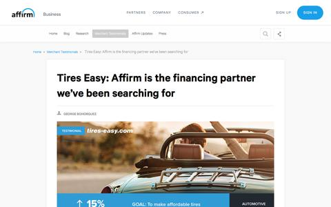 Screenshot of Case Studies Page affirm.com - Tires Easy: Affirm is the financing partner we've been searching for - captured Dec. 4, 2019