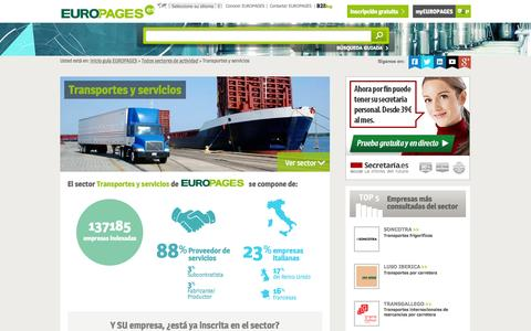 Screenshot of europages.es - Transportes y servicios , todos los proveedores para España y Europa de EUROPAGES - captured Sept. 12, 2015