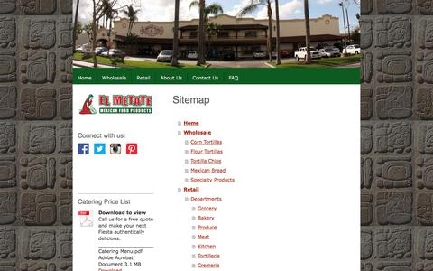 Screenshot of Site Map Page elmetate.com - Sitemap - El Metate Foods - captured July 23, 2017