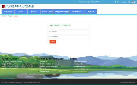 Screenshot of Login Page krakatautirta.co.id - PT. Krakatau Tirta Industri - captured Oct. 25, 2018