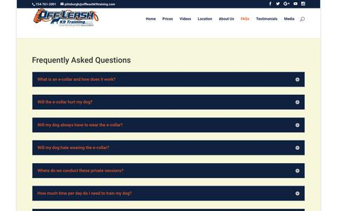 Screenshot of FAQ Page pittsburghdogtrainers.com - Pittsburgh Pennsylvania Dog Trainers | Pittsburgh Off Leash K9 Dog Training | Dog Obedience Training Pittsburgh PA | Expert Dog Trainer Pittsburgh | Pro Dog Trainer Nick White | Pittsburgh Offleash K9 Dog Training - captured Oct. 19, 2017