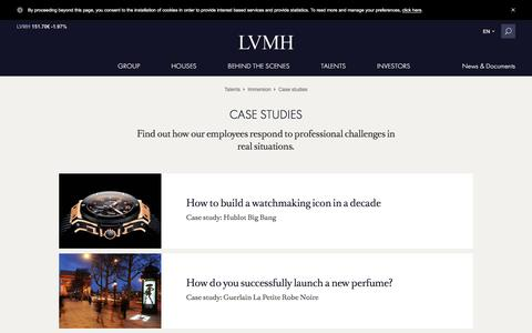 Screenshot of Case Studies Page lvmh.com - Case studies - Daily challenges, talents – LVMH - captured Sept. 1, 2016