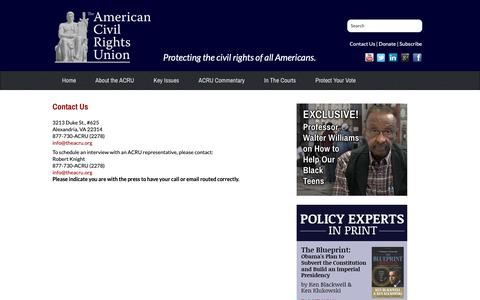 Screenshot of Contact Page theacru.org - Contact Us :: The American Civil Rights Union - captured Oct. 18, 2018