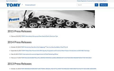 Screenshot of Press Page tomy.com - Press Releases | TOMY - captured Feb. 4, 2016