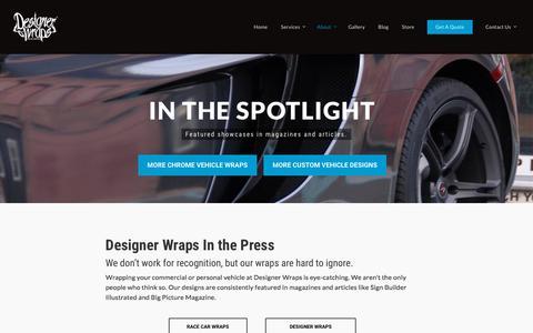 Screenshot of Press Page designerwraps.com - Press for Designer Wraps In the Car World - Designer Wraps - captured Aug. 6, 2018