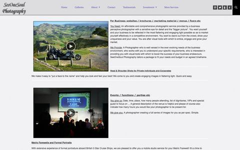 Screenshot of Services Page zenfolio.com - SeeOneSoul Photography | SeeOneSoul Photographic Services - captured Sept. 12, 2014