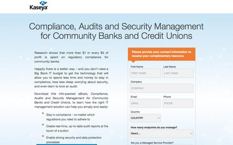 Screenshot of Landing Page kaseya.com - Compliance, Audits and Security Management for Community Banks and Credit Unions | Kaseya - captured May 10, 2017