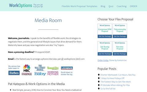 Screenshot of Press Page workoptions.com - Media Room for Flexible Work Expert, Pat Katepoo - captured June 13, 2018