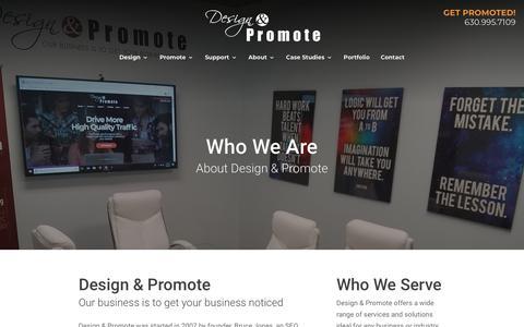 Screenshot of About Page designandpromote.com - About Us   Digital Marketing   Website Design   Design & Promote - captured Sept. 22, 2018