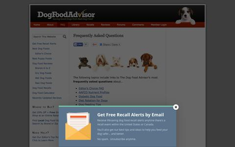 Screenshot of FAQ Page dogfoodadvisor.com - Frequently Asked Questions About Dog Food | The Dog Food Advisor - captured Jan. 7, 2016