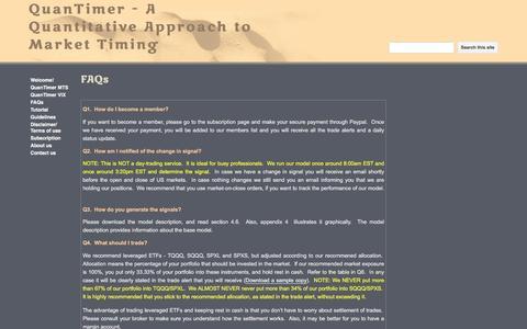 Screenshot of FAQ Page google.com - FAQs - QuanTimer - A Quantitative Approach to Market Timing - captured May 30, 2016