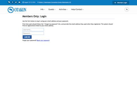 Screenshot of Login Page otakon.com - Otakon®: Welcome To Otakon - captured Oct. 21, 2017
