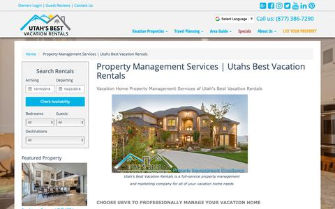 Screenshot of About Page utahsbestvacationrentals.com - Vacation Home Property Management - Utahs Best Vacation Rentals - captured Oct. 19, 2018