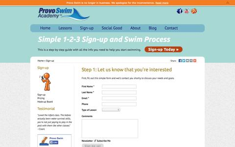 Screenshot of Signup Page provoswimacademy.com - Sign-up by Provo Swim Academy - captured Oct. 3, 2014