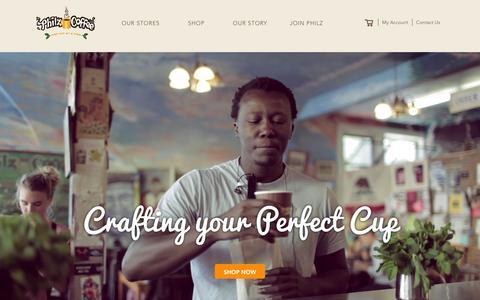 Screenshot of Home Page philzcoffee.com - Philz Coffee - captured Feb. 7, 2016