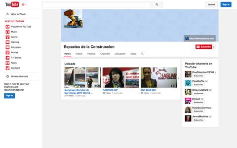 Screenshot of YouTube Page youtube.com - Espacios de la Construccion  - YouTube - captured Oct. 22, 2014