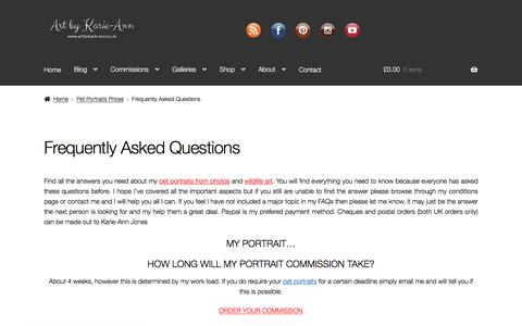 Screenshot of FAQ Page artbykarie-ann.co.uk - Frequently Asked Questions • - captured Nov. 17, 2019