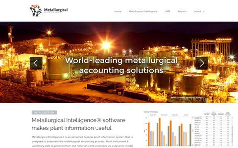Screenshot of Home Page metsystems.com.au - Metallurgical Intelligence® Metallurgical Accounting Software - captured Oct. 6, 2014