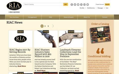 Screenshot of Press Page rockislandauction.com - Antique & Collectors Firearms Auction - Sell Your Guns :: RIAC Begins 2017 By Setting Records - captured March 1, 2017