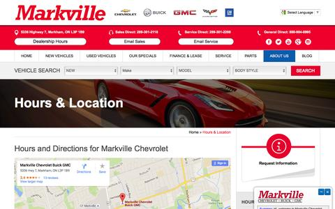 Screenshot of Hours Page markvillechevrolet.com - Hours & Directions | GM Dealership Oshawa | Markville Chev - captured Feb. 12, 2016