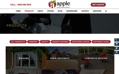 Screenshot of Products Page applehomeimprovements.co.uk - Apple Home Improvements Products | Home Improvement Ideas - captured April 26, 2018