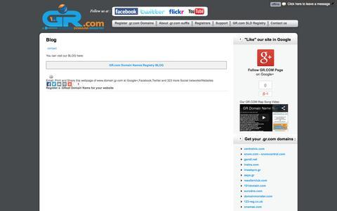 Screenshot of Blog domain.gr.com - GR.COM Blog | .GR.com SubLevel Domain Names Registry - GR COM - captured Oct. 29, 2014