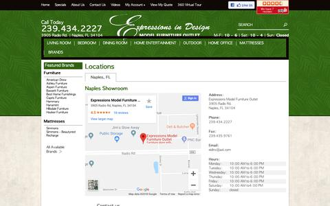 Screenshot of Contact Page Locations Page emfo.us - Contact Expressions Model Furniture Outlet in Florida - captured Sept. 30, 2018