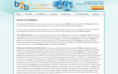 Screenshot of Terms Page b2bdata.co - B2Bdata.co Terms & Conditions - captured Nov. 5, 2018