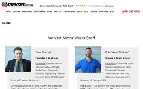 Screenshot of About Page markertmotorworks.com - About | Markert Motor Works - captured June 9, 2017