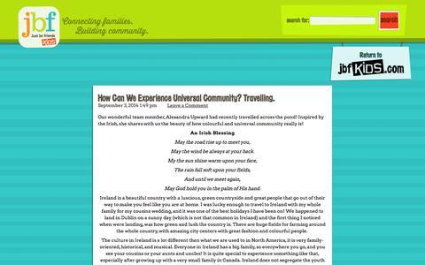Screenshot of Blog justbefriends.net - Just Be Friends Kids Blog - captured Sept. 16, 2014