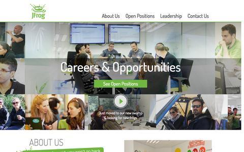 Screenshot of Jobs Page jfrog.com - Join Us - Career page - JFrog - captured Sept. 16, 2014