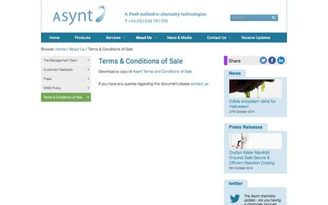 Screenshot of Terms Page asynt.com - Terms & Conditions of Sale - Asynt - captured Oct. 29, 2014