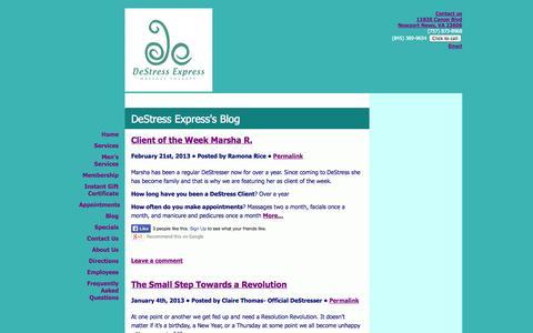 Screenshot of Blog destressexpress.com - DeStress Express - Blog - captured Oct. 5, 2014
