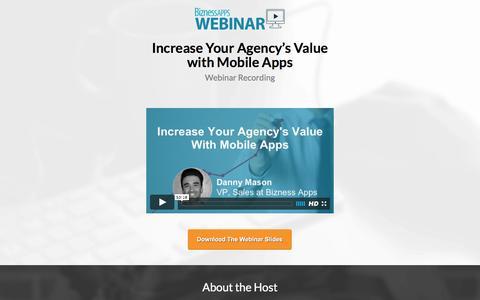 Screenshot of Landing Page biznessapps.com - How to Build Recurring Revenue for Your Agency | Bizness Apps Webinar Recording - captured Aug. 25, 2016