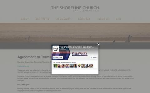 Screenshot of Terms Page theshoreline.org - Terms and Conditions of Use | - The Shoreline Church of San Clemente - captured Dec. 1, 2016
