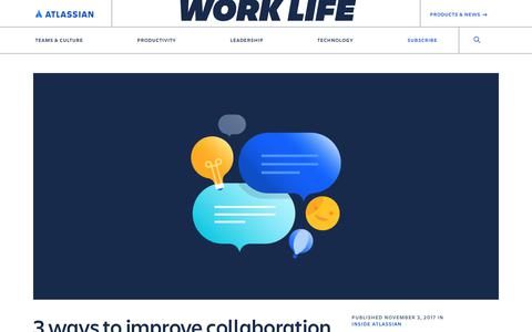 Screenshot of Blog atlassian.com - How to improve collaboration by putting culture first - captured Feb. 8, 2020