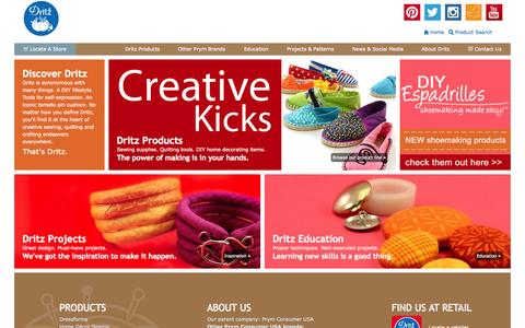 Screenshot of Home Page dritz.com - Dritz Quilting, Sewing & Crafting Supplies - captured Sept. 18, 2015