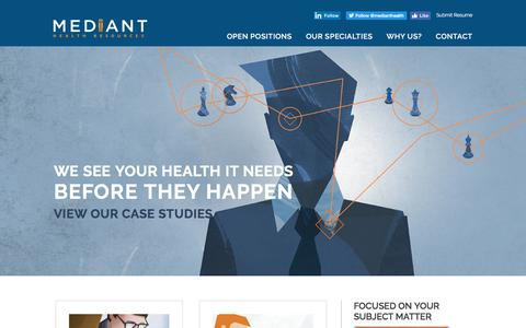 Screenshot of Case Studies Page medianthealthcare.com - Case Studies - Mediant Health Resources - captured July 5, 2017