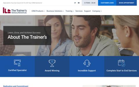 Screenshot of About Page thetrainers.ca - About Us - The Trainer's Advisory Network Ltd. - captured Sept. 21, 2018